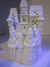 "Christmas PartyLite Village Carolers Ivory Bisque Porcelain 8"" Tealight Holder"
