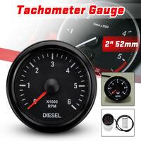 52mm 0-6000 RPM Tachymètre Tacho Jauge Compte-tours Moteur Diesel Electrique 12V