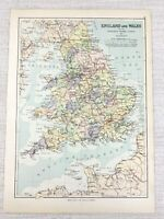 1894 Antique Map of England Wales Railway Routes Railroad Canal Network Rivers