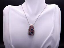 18k White Gold 3.77ct Blue Pink Orange Sapphire Diamond Pendant Necklace 16 inch
