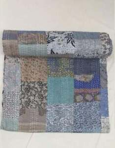 Indian Handmade Kantha Quilt Patola Silk Patchwork Cotton Bedspread King Size