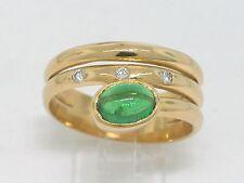 Tsavorit Ring 750 Gelbgold 18Kt Gold natürlicher Tsavorit Cabochon  3 Brillanten