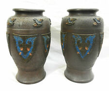 Antique Pair of Large Japanese Pottery Faux Champleve Vase / Vases c 1930s