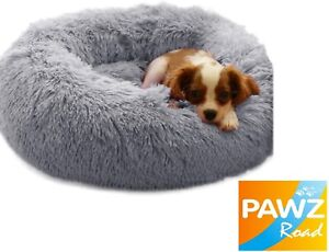 Comfy Calming Dog Cat Warm Bed Pet Round Super Soft Plush Marshmallow Puppy Beds