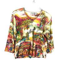 Chicos Women T-Shirt Size 2 L Multicolor Artsy 100% Cotton VNeck 3/4 Sleeve Tee