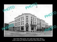 OLD LARGE HISTORIC PHOTO OF EAU CLAIRE WISCONSIN, VIEW OF EAU CLAIRE HOUSE c1900