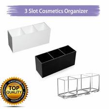 Acrylic Brush Holder 3 Slot Cosmetic Organizer Makeup Case Storage Box Stand