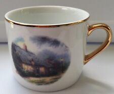 Teleflora Thomas Kinkade Moonlight Cottage Cup Mug Painter of Light Gold Rim