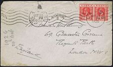 1926 Nigeria 1d x 2 Lagos to London