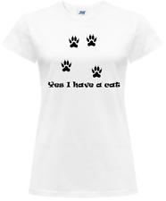 Maglietta T-Shirt Donna Divertente Impronta Gatto