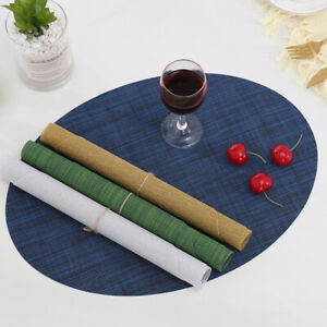 Set of 2/4/6/8 Table Placemats oval Tableware Pads PVC Woven Place Mat Kitchen