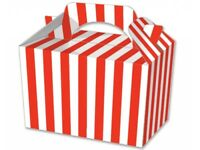Red Stripe Food Boxes ~ Striped Loot Lunch Meal Box ~ Birthday Party Plate