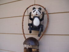 Painted Panda Bear on a Swing Bamboo with Coconut Top Wind Chimes Free Ship