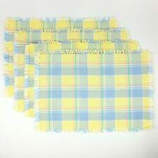 Set 4 Fiestaware Cotton Placemats Plaid Yellow Periwinkle Fiesta Ware w/Fringe
