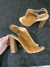 Michael Kors Collection Vero Cuoio Leather Chunky Heel Booties Sz 38.5 EUC