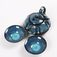 Yixing Zisha Clay Tea Set Jian Ware Flambe Glazed Chinese Yixing Teapot + 2 Cups