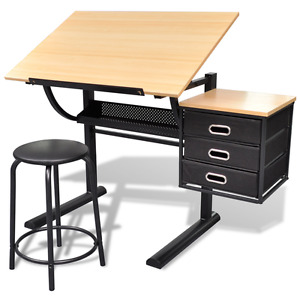 3 Drawers Tiltable Tabletop Drawing Table with Stool Chair Crafting Desk