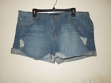 NWOT Revolt Jeans Deconstructed Low Rise Denim Shorts Stonewash Size 19