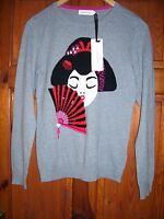 Amphora ladies sequin jumper grey size 10 oriental lady & fan BNWT