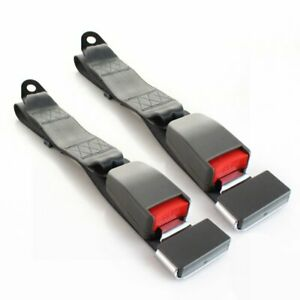 2PC Fit Benz 2 Point Harness Safety Seat Belt Adjustable Gray Car Truck