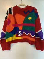 VTG 80s 90s Sweater Colorful Red One Step Up Geometric Zig Zag Squiggle L