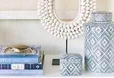 Hamptons Coastal Beach House Style Blue and White Lidded Tall Maize Jar