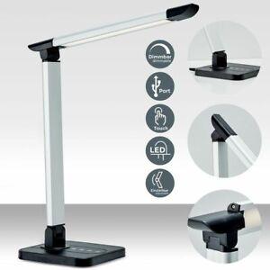 LED Schreibtisch-Lampe dimmbar 230V Büro Leselampe Tischleuchte Touch Kinder USB