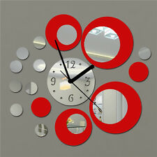 Acrylic Clock Circle Mirror Effect Mural Wall Sticker Artistic Room Decor