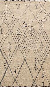 Geometric Artistic Modern Earth-Tone Color Moroccan Berber Oriental Area Rug 6x8