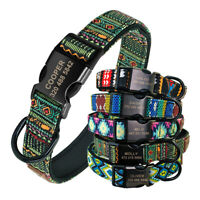 Personalised Neoprene Dog Collar Custom ID Nameplate Bulldog Boxer Floral Tribal