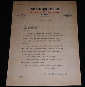 1941 Pioneer Brewing Company, Joliet Illinois Vintage Letterhead