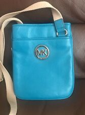NWT Michael Kors Fulton Turquoise Genuine Leather Crossbody $158