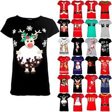 Womens Ladies Reindeer Pudding Snowflakes Christmas T Shirt Cap Sleeve Xmas Top