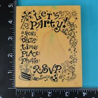 PSX Lets Party RSVP Birthday Invitation K-566 Wood Mounted Rubber Stamp 1993