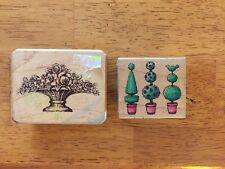 Plants Topiary Flowers Rubber Stamps Wood Mounted Lot Of 2