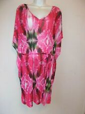 H & M*Coverup robe size L large pink abstract Tie in front Semi sheer Pretty LNC
