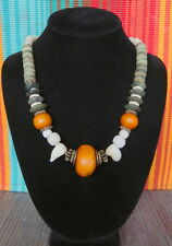 Hand Made Trade Bead necklace,Carved Shell, tribal phenolic Amber,Brass,Bronze