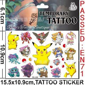 POKEMON GO Temporary Tattoos UK Fun Boys Girls Stocking Fillers Fake Transfers🎉