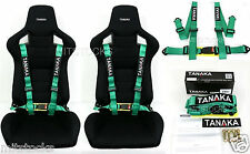 2 X TANAKA UNIVERSAL GREEN 4 POINT BUCKLE RACING SEAT BELT HARNESS 2""
