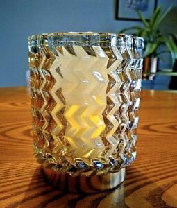 BRISSI Gaya LARGE Mid Century Chevron Candle Holder - AMBER Glass 5.5 X 4 inches