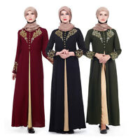Abaya Women Muslim Kaftan Jilbab Cocktail Long Robe Maxi Islamic Dubai Dress New