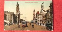 1920 Postcard King William Street Trams Bikes Horses Adelaide South Australia