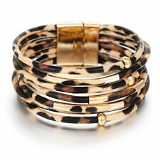 Leopard Leather Bracelets Women Elegant Multilayer Wide Wrap Bracelet Jewelry