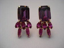 Vintage Art Glass and Rhinestone Clip Earrings Amethyst Purple Colors