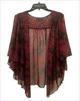 Womens TIE DYE Plus Size 5X Burgundy Chiffon Cardigan Bolero Shrug Top