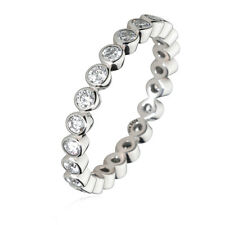 925 Sterling Silver Stackable Crystal CZ Eternity Promise Wedding Band Ring US7