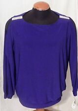 Womens Blouse Special Occasion 2X NWT Royal Blue Beaded Shoulders Split Sleeve