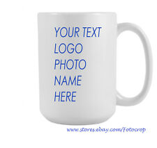 Personalized Coffee Mug Ceramic 15oz Photo Logo  Custom name Printed Gift New!!