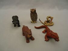 5 K&M Forest Animal plastic figures Rattlesnake Owl Raccoon River Otter Lizard