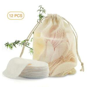 12Pcs Bamboo Cotton Organic Reusable Makeup Remover Pads Washable Rounds w/Bag